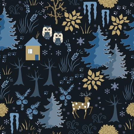 Nahtloses Muster des ehrfürchtigen Winters mit Haus im Nachtwald. Stilvolle zurück, braun und blau Urlaub Hintergrund. Winterkomposition für schöne Ferienentwürfe Standard-Bild - 88178648