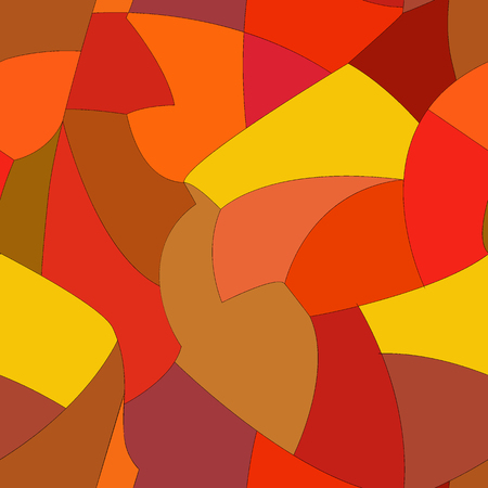 Vector abstract hand drawn seamless patchwork pattern with snippets in autumn palette Illustration