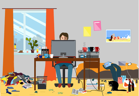 Illustration of a Disorganized Room Littered With Pieces of Trash.
