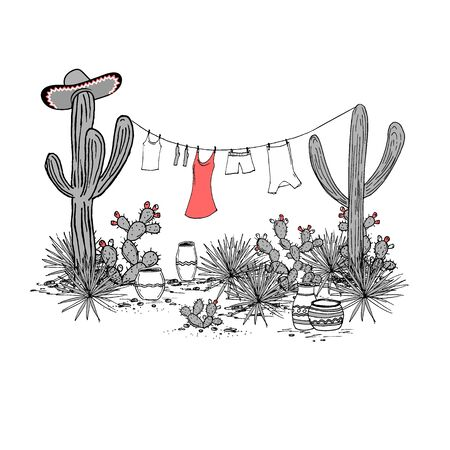 Funny hand drawn Mexican landscape