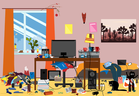 Illustrazione di una stanza disordinata sparsa di pezzi di spazzatura. Stanza in cui vive giovane o studente Vettoriali