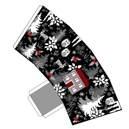 Awesome winter Christmas popcorn box in doodle winter forest style. Favor, gift box. Just print, cut out, and glue it together. Vector Stock Photo