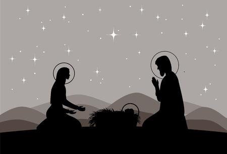Vector nativity scene. Mary with Jesus, and Joseph silhouette