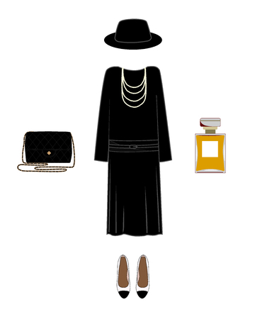 Vector silhouette of a lady classic image. Dress, shoes, hat, bag, and perfume