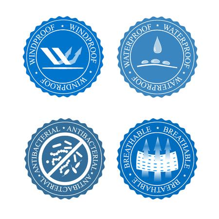 Een vectorpictogrammenreeks stoffeneigenschappen. Winddichte, antibacteriële, waterdichte en ademende slijtage labels. Textielindustrie pictogram voor kleding.