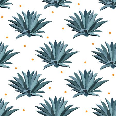 블루 agave 벡터 원활한 패턴입니다. 데킬라 팩, agave 시럽 superfood 및 기타 배경. 즙이 많은 선인장 월페이퍼. 일러스트