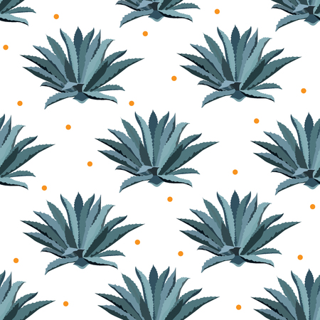 Blue agave vector seamless pattern. Background for tequila packs, superfood with agave syrup, and other. Succulent, cactus wallpapers. Illustration