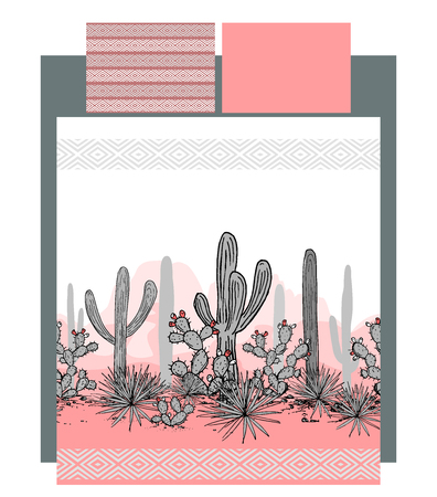 Bedding vector with Mexican cacti and mountains landscape vector illustration