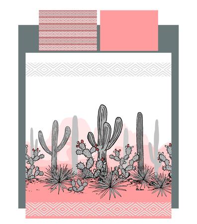 Vecteur de literie avec cactus mexicains et montagnes paysage vector illustration Banque d'images - 91200821