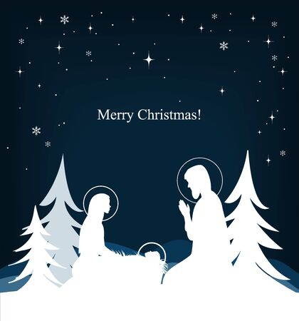 Vector nativity scene. Mary, Jesus, and Joseph silhouettes and fir-trees Stock Photo