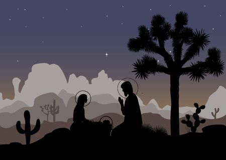 Nativity scene and mexican night landscape. Saint family, Joshua tree, cactus, and mountains. Vector illustration