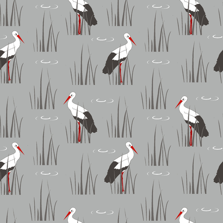 Decorative texture with cranes and cane. Illustration