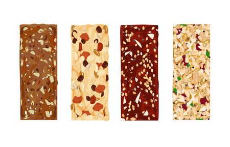 Various vector granola bars isolated on white background. Healthy gluten-free and lactosa free snacks with honey, grains, and nuts. Energy bars vector