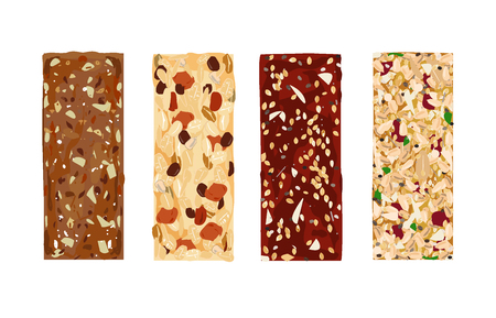 Various vector granola bars isolated on white background. Healthy gluten-free and lactosa free snacks. Energy bars vector