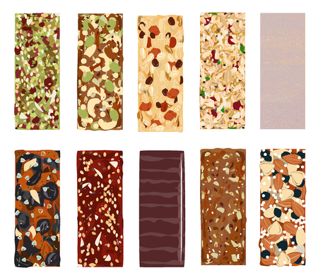 Top view of hand drawn healthy and energy bars, nuts, granola, muesli or cereal. Vectores