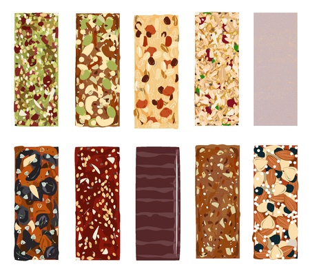 Top view of hand drawn healthy and energy bars, nuts, granola, muesli or cereal. Illustration
