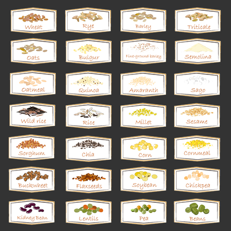 Vector collection of cereal, legumes and grain emblems for packaging, advertising healthy food, stickers for home jars. Labels set