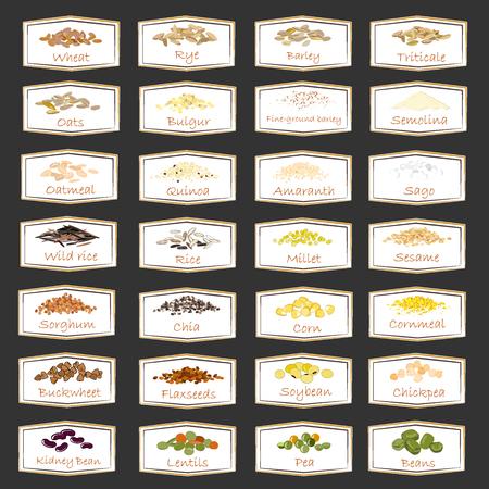 Vector collection de céréales, légumineuses et emblèmes de céréales pour l'emballage, la publicité de la nourriture saine, des autocollants pour les pots à la maison. Jeu d'étiquettes
