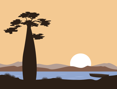 Sunset or sunrise in Africa. Baobab and the lake. Vector landscape. Illustration can be used in brochures, postcards, banner. Çizim