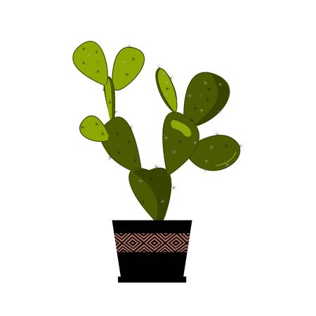 Prickly pear cactus in pot, traditional Mexican plant. Cactus flat vector illustration on white. Home flower in pot. Opuntia or prickly pear icon