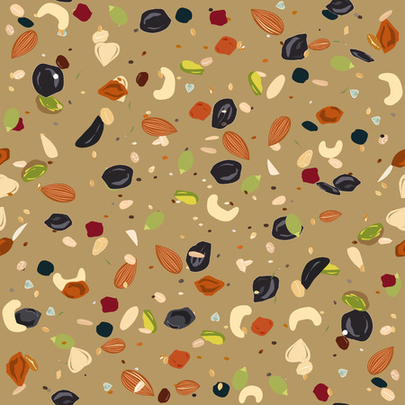 Seamless pattern with dried fruits, nuts, oatmeal, and seeds. Healthy and eco food, granola background.