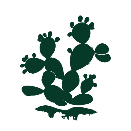 Prickly pear cactus icon isolated on white background. Illustration