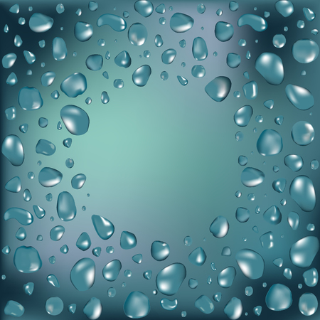 Water frame with water drops. Vector illustration. Round shape frame Vettoriali