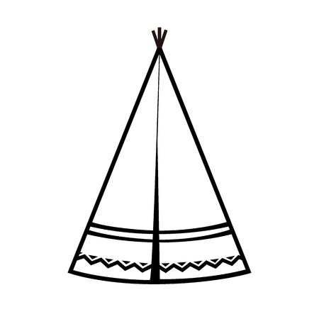 Wigwam icon. Indian teepee or tipi. Vector illustration. Black and white Illustration