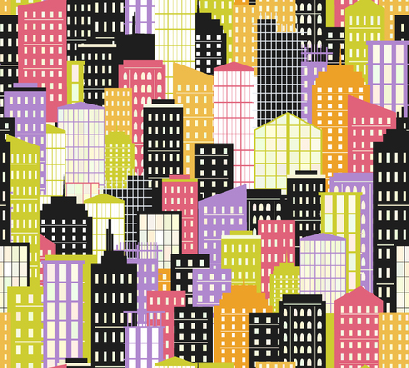 Seamless urban landscape. Vector illustration. City background, cityscape with buildings and skyscrapers.
