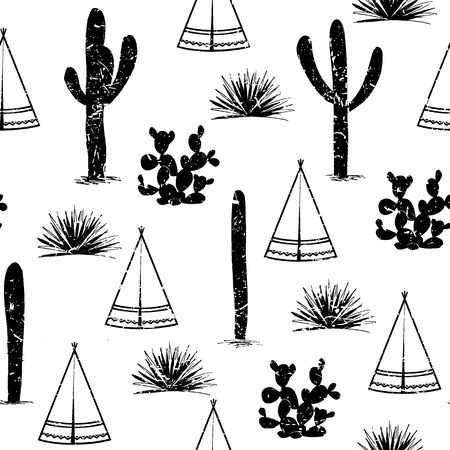 Indian tribal background simple flat wigwam, cactus, and grass. Seamless pattern landscape design cartoon illustration.