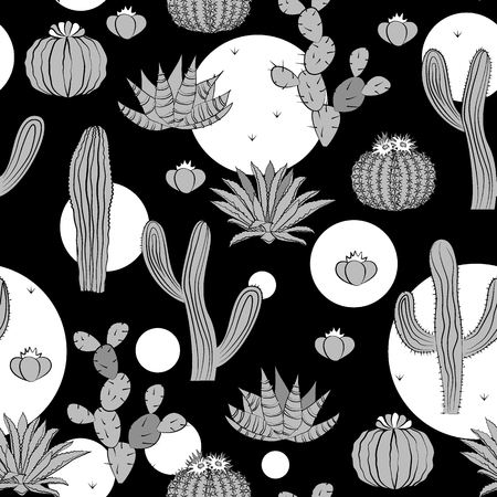 Seamless pattern with cactus. Wild cactus forest with doodle circles. Stylish grey, black, and white palette. Vector illustration  イラスト・ベクター素材