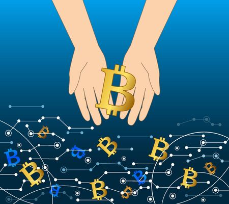 Getting money from virtual flow, bitcoin business concept. Hand holding bitcoin coin. Vector Illustration Banco de Imagens - 94468472