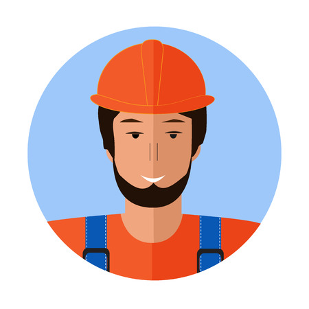 Builder man face icon. Flat illustration of builder man face icon for web design Illustration