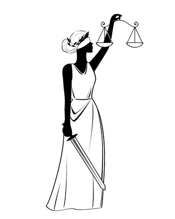 Justice statue icon, vector illustration, black sign on isolated background