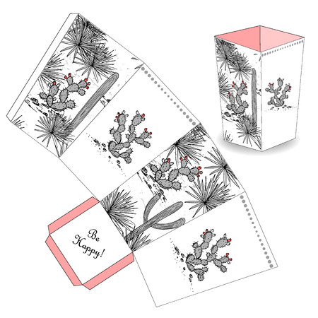 Cute popcorn box with hand drawn sketch cactus, prickly pear, and saguaro. Favor, gift box. Just print, cut out, and glue it together. Vector template