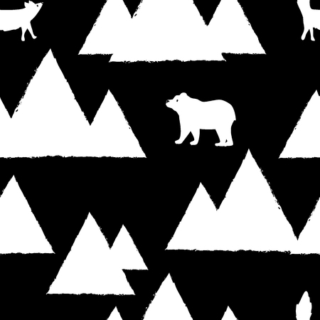 Polar white bears and foxes with triangle abstract mountains. Cute seamless pattern for christmas card. Illustration