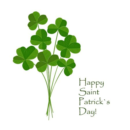 Green clover bouquet on white background. St Patrick day greeting card. Irish. Vector flat illustration.