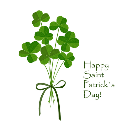 Green clover bouquet with quarterfoil and trefoilon leaves on white background. St Patrick day greeting card. Irish. Vector flat illustration. Illustration