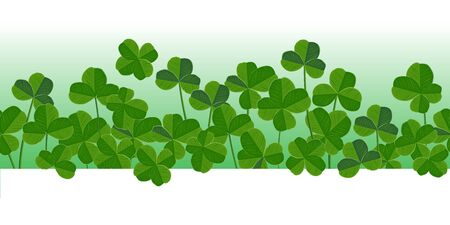 St. Patrick's day vector horizontal seamless background with shamrock leaves. Elegant and vivid pattern