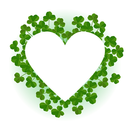 Saint Patricks Day vector background, heart shape frame with cute shamrock leaves