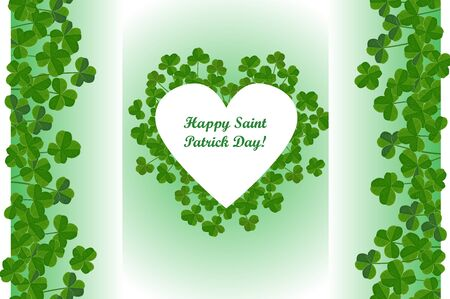 Saint Patrick's Day background, heart shape frame with cute shamrock leaves. Vector greeting card.