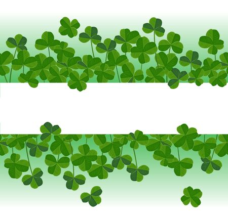 St. Patricks day vector horizontal background with shamrock leaves in seamless elegant leaves silhouettes and place for text.
