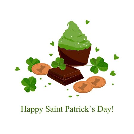 Stylish seamless St. Patrick's day background with clover leaves chocolate bars, green cupcakes, and coins. Vector illustration, greeting card. Illustration