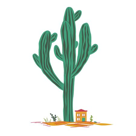Cute cartoon illustration with high saguaro cactus and liitle house. Mexican fairy landscape, print for cards or textile, vector background