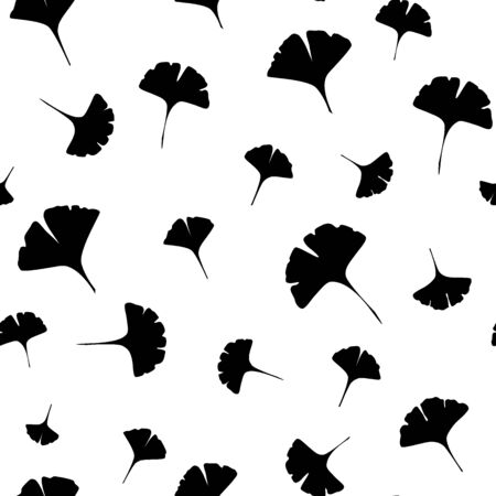 Leaves of ginkgo bilboa. Black leaf silhouettes. Seamless vector illustration.