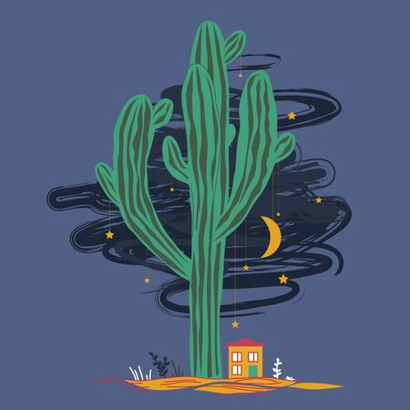 Cute illustration with high saguaro, liitle house, and stars and moon hanging on the cactus. Mexican fairy landscape, print for cards, new year, or textile. Vector background