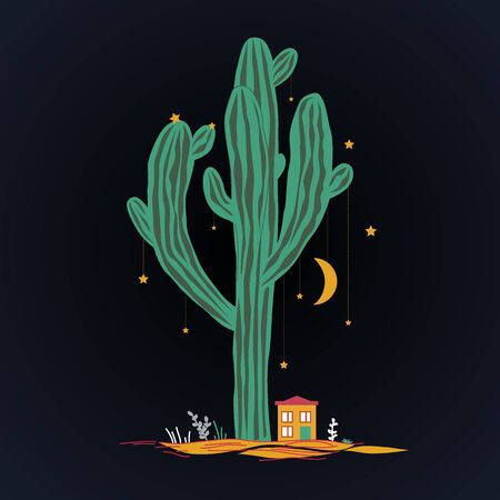 Cute illustration with high saguaro, liitle house, and stars and moon hanging on the cactus. Illustration