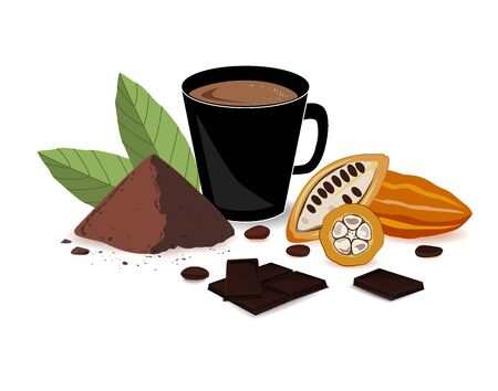 Bright banner with cocoa drink, cocoa powder, chocolate bar, cocoa beans, and cocoa fruits. Print, template, design element for packaging and advertising. Vector illustration.