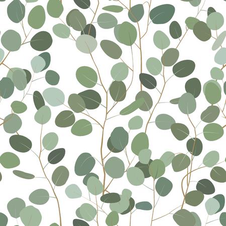 Seamless pattern with eucalyptus