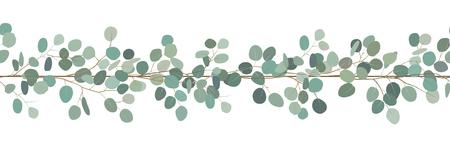Elegant seamless border of a eucalyptus branches. Floral frame. Vector hand drawn illustration.